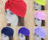 chapéus de senhoras de poliéster venda por atacado-Moda Feminina Senhora Stretchy Poliéster Turbante Cabeça Envoltório Chapéu Banda Bandana Hijab Plissado Estilos Indianos Caps Muçulmanos Touca de Banho