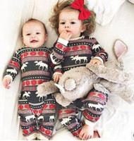 Wholesale Boys Pajamas 18 Months - Baby Boy Girl Christmas Clothes Winter Jumpsuit Cute Romper Cotton Kid Red Pajamas Snow Flower Reindeer Kid Clothing 3-18M Factory Clothes