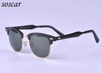 Wholesale Aluminum Magnesium Alloy Sunglasses - Brand Designer Sunglasses for Men Sports Sunglasses Soscar 3507 Aluminum Magnesium Frame Green Classic G-15 Lenses with Original Leather Box