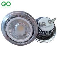 lampe 24v 15w achat en gros de-LED AR111 Spotlight 15W COB ES111 QR111 45mil Bridgelux GU10 G53 12VDC 110V 120V 220V 230V 240V égale 120W Lampe halogène Éclairage intérieur