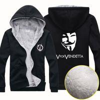 Wholesale Cheap Long Coats For Men - New Cheap Wholesale V For Vendetta Men Winter Sports Outerwear Coats Hoodies Wool Blends Jersey Cardigan Sweater Jacket