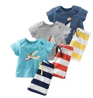 bebek mavisi üstleri toptan satış-2016 Yaz Bebek Erkek Çapa Setleri Üst t shirt + Şerit Pantolon Çocuk Kısa Kollu Butik Kıyafetler Çocuklar Yaz Pijama Çocuk Giysileri Suits