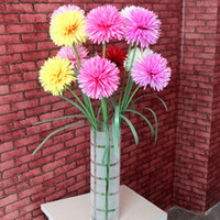 Wholesale Fake Flower Balls For Wedding - Amazing Value 2 Balls In One Single Gerbera Artificial Flower Silk Fake Flower Colourful for Christmas Wedding Party Home Decoration93-1018