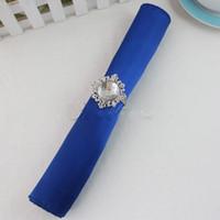 pañuelos azul real al por mayor-100 piezas Royal Blue Deep Blue 12 pulgadas servilletas cuadradas de satén o pañuelos Wedding New Table Serviettes