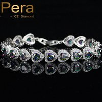 Wholesale Siver 925 Bracelet - Pera Luxury Mystic Rainbow Connected Heart Shape Stone 925 Sterling Siver Jewelry Bridal Wedding Bangle Bracelet For Brides B075