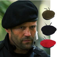 béret en laine derby achat en gros de-Hommes et femmes en plein air respirant pure laine béret chapeaux casquettes casquettes des forces spéciales soldats escadrons de la mort camp d'entraînement militaire chapeau