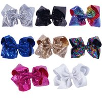 Wholesale Wholesale Bows Alligator Clip - 8 Inch Sparkly Girl Jumbo Jojo Rainbow Sequin Hair Bows On Alligator Clip For Kid Girl Hair Clip