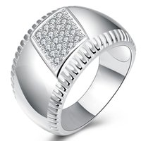Wholesale Silver Edge Jewelry - 2016 Hot Latest Design 925 Silver Rings Jewelry Exquisite 14M Wide Glossy Gear Edge Rings Jewelry Couples Rings US Size 8 9 10