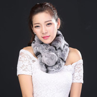 Wholesale Skin Rex Rabbit Fur - Wholesale-Hot 2016 New Fashion Women Whole set rabbit skin Rex rabbit fur scarf Real Natural 100% Rabbit Fur Scarves Wholesale retail