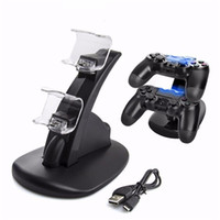 Wholesale X Box Controllers - Dual USB Charge Dock Stand Dual Charger Controller Stand With USB Charging Cable for Sony Play Station 4 PS4 X-Box One Charger