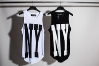 longo oversized t camisa mens venda por atacado-Nova Iorque NY Estendido Tops Dos Homens Urbanos Oversized Colete Sem Mangas T-Shirt 2017 Verão Casual Curvo Hem Longo colete