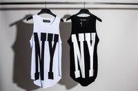 Wholesale mens vest t shirts - New York NY Extended Tank Tops Mens Urban Oversized Vest Sleeveless T-Shirt 2017 Summer Casual Curved Hem Long Vest