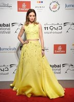 Wholesale Embroidery Taffeta Chiffon - 2016 Two Pieces Celebrity Dresses Jewel Lace Beaded A-line Cutaway Yellow 12th Annual Dubai International Film Festival Evening Gowns
