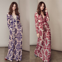 Wholesale Long Gauze Dresses For Women - HIGH QUALITY New Fashion 2016 Women's Long Sleeve Deep V Blue Embroidery Gauze For Love and Lemons Long Dress