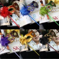 Wholesale Plastic Mask Side Flower - MJ015 Masquerade Party plastic Masks On stick with cloth lace and side Flower masks for Masquerade Ball Black White colorful party Masks