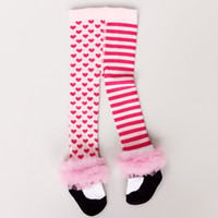 Wholesale Shoe Tights - Chirstmas Leggings Korean Fashion Princess Shoes Lace Edge StripedHeart Baby Girls Tights Autumn Spring Kid Long Socks Pantyhose A5789