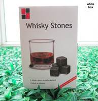 Wholesale Christmas Wine Gift Box - Christmas gift! Whiskey Rocks 9pcs set in Delicate Gift Box+Velvet Bag Whisky stones Wedding Decoration