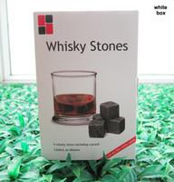 ingrosso pietre decorative-Regalo di Natale! Whisky Rocks 9pcs / set in confezione regalo delicata + sacchetto di velluto pietre di whisky Decorazione di nozze