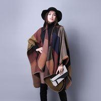 Wholesale Womens Poncho Cloak - Brand Fashion Womens Autumn Winter Warm Flower Pattern Slit Wool Blend Plaid Blanket Cloak Poncho Cape Coat Tassel Shawls Scarf
