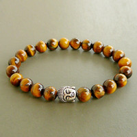 silber tiger armband großhandel-Buddha Wrap Armband, Meditation Armband, Yoga Armband, Tiger Eye Armband, Herren Tiger Eye Armband, Herren Buddha Armband, Mens Budda