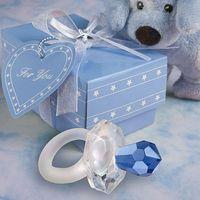 baby shower europa al por mayor-Envío gratis a Europa 100 unids / lote cristal regalo de cristal azul chupete Baby Shower favores para regalo de boda