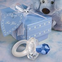 Wholesale Crystal Baby Pacifier Favors - Free shipping to Europe 100pcs lot crystal gift of Crystal blue pacifier Baby Shower favors for wedding gift