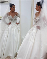 Wholesale Luxurious Lace Arabic Wedding Dresses Sheer Neck Long Sleeves Ball Gown Bridal Dresses Satin Noble Sexy Wedding Gowns