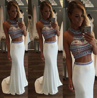 Wholesale Spandex Two Piece Dress - 2016 Two Pieces Satin Mermaid Prom Dresses Beaded Stones Top Floor Length Evening Party Dresses