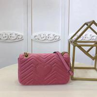 Wholesale Trendy Shoulder Bags - fashion hot genuine leather Marmont G Love velvet shoulder bag luxury trendy brand handbag chain bag messenger handbag 443497