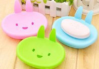 Wholesale green plastic container resale online - DHL Free Ship Cute Rabbit bathroom shower storage dish soap box soap holder case container soapbox