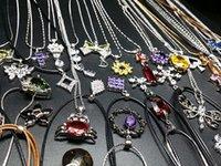 Wholesale Necklaces Hundreds - New 10PCs Mix Hundreds of styles women's Zircon Crystal Rhinestone silver plated fashion pendant necklaces Hot wholesale lots