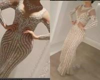 vestidos de ouro para zuhair murad venda por atacado-Yousef Aljasmi Charbel Zoe manga longa Vestidos de Desgaste da Noite Cristais de Luxo Vestido de Noite de Ouro Zuhair murad Celebridade Vestidos de Baile