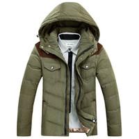Wholesale Outwear Jacket Popular Tops - Wholesale- Fashion Popular Men Winter Coat Men Warm White Duck Down Jacket Zipper Parkas Masculina Outwear Comfortable Thick Jacket tops