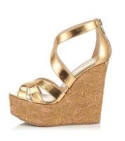 Wholesale Trendy Platform Wedges - 2016 new women sandals round toe zip wedges platform high heels sandals woman sandalias fashion sandals trendy party shoes shoes women