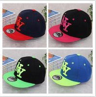 Wholesale Children Hip Hop Hat - High quality Kids NY Snapback Hot children boys girls NY letter Embroidery Cotton Baseball Cap Boys&Girls Snapback Caps Hip Hop sun Hats