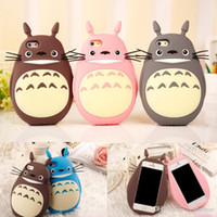 3D Cute Cartoon Case Totoro Cat Soft Silicone Back Cover Phone Cases para Apple iphone 6 6s 7 plus 6sPlus Lovely Coque