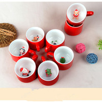 Wholesale Animal Ceramic Mugs - 3D ceramic christmas mug 400ml red mug inside with santa snowman deer animal cute christmas coffee cup christmas decor gifts