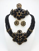 Wholesale Long Pearl Necklace Designs - High Quality Fashion Nigerian Wedding African Beads Jewelry Sets Dubai Gold Plated Jewelry Sets 18K Costume Romantic Long Design