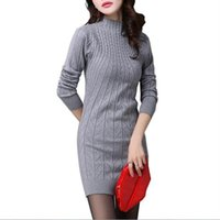 Wholesale Thick Long Sleeve Sweater Dress - Wholesale- 2016 Winter Autumn Women Sweater Dresses Long Sleeve Knitted Female Slim Thick Warm Turtleneck Mini Bodycon Dress Vestidos 233