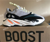 Wholesale Grey Rubber Bands - Discount Kanye West Boost Retro Wave Runner 700 Grey Causal Shoes Boost Mens Women Solid Grey Chalk White Core Black Sneakers Size US5-12