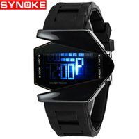 Wholesale Airplane Shape Watches - SYNOKE Factory direct fighter style LED fashion sports watch cool airplane watch explosion recommended 80001
