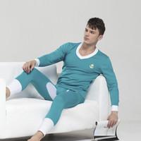 Wholesale Long Johns Sets For Men - Wholesale-Promotion !1 set (tops&pants) men's deep V-neck Invisible winter thermal underwear warm cotton long johns for men soild