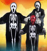 Wholesale Wholesale Shirts Tv - Halloween Costume Dress skull ghost shirt costume Skull Gloves carnival costumes