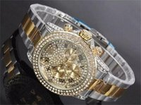 Wholesale Inlay Buckle - Luxury Rhinestone Diamond inlay Clock dial Style calendar Watches fashion Full Steel Man Woman Watches wholesale