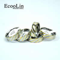Wholesale Stone Rings Designs Men - EcooLin Jewelry New design Fashion Water Ripple Gold Stainless Steel Rings For Women Men Jewelry Wholesale Bules Ring Lots Never Fade LB4013