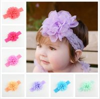 Wholesale Big Chiffon Flowers Baby Headband - 18 colors Baby Girls Lace Headbands Infant big Chiffon Flower hair band headwear Children Hair Accessories Kids Elastic Headbands KHA347