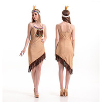 Wholesale Indian Womens Dress - 2016 New Adult Womens Sexy Halloween Party Indian Hunter Costumes Outfit Fancy Cosplay Dresses