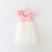 Wholesale Girls Long Summer Dress Korean - New girls dresses for party Korean polka dots floral ruffle fly sleeve Kids Tutu Dress Summer back V-neck bows Children Long Dresses 6507