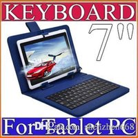 Wholesale Micro Keyboard Skins - 40X OEM Leather Case with Micro USB Interface Keyboard for 7 inch MID Tablet PC A-JP