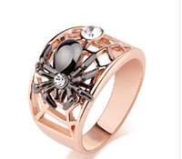 Wholesale 18k Rose Gold Gf - Size6 7 8 9 NEW Brand Hot Fashion Spider Design Swarovski Crystal 18K Rose Gold filled GF Wedding Ring FOR LOVE GIFT